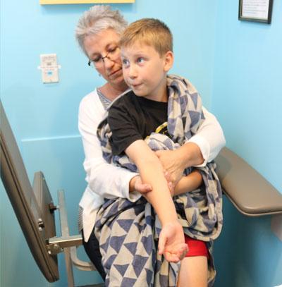 Patient with parent in blood lab