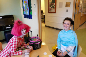 Morgan with Valentine the clown