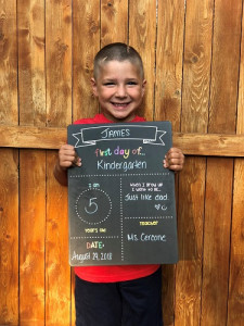 James first day of kindergarten