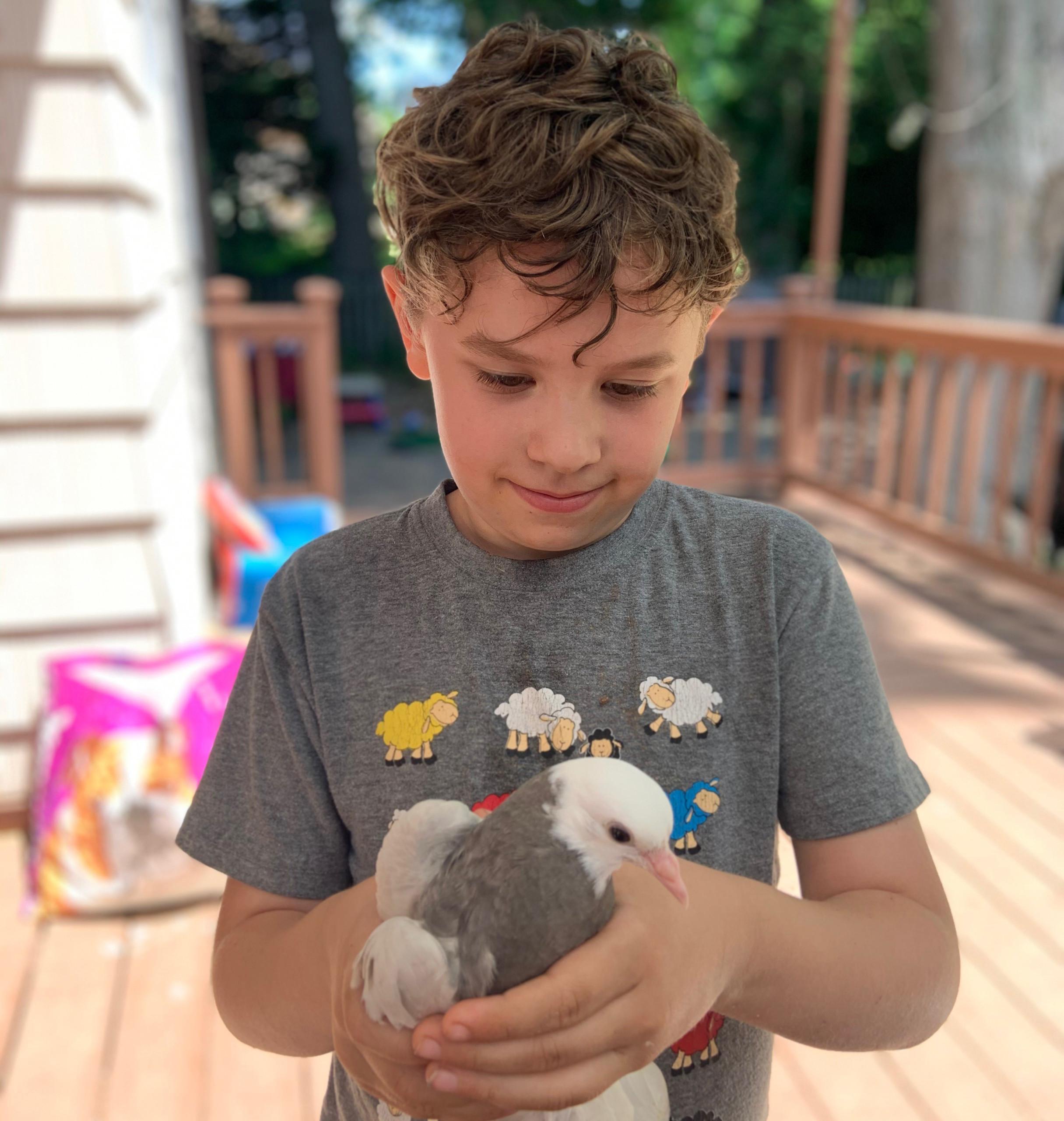 Guthrie holding a bird