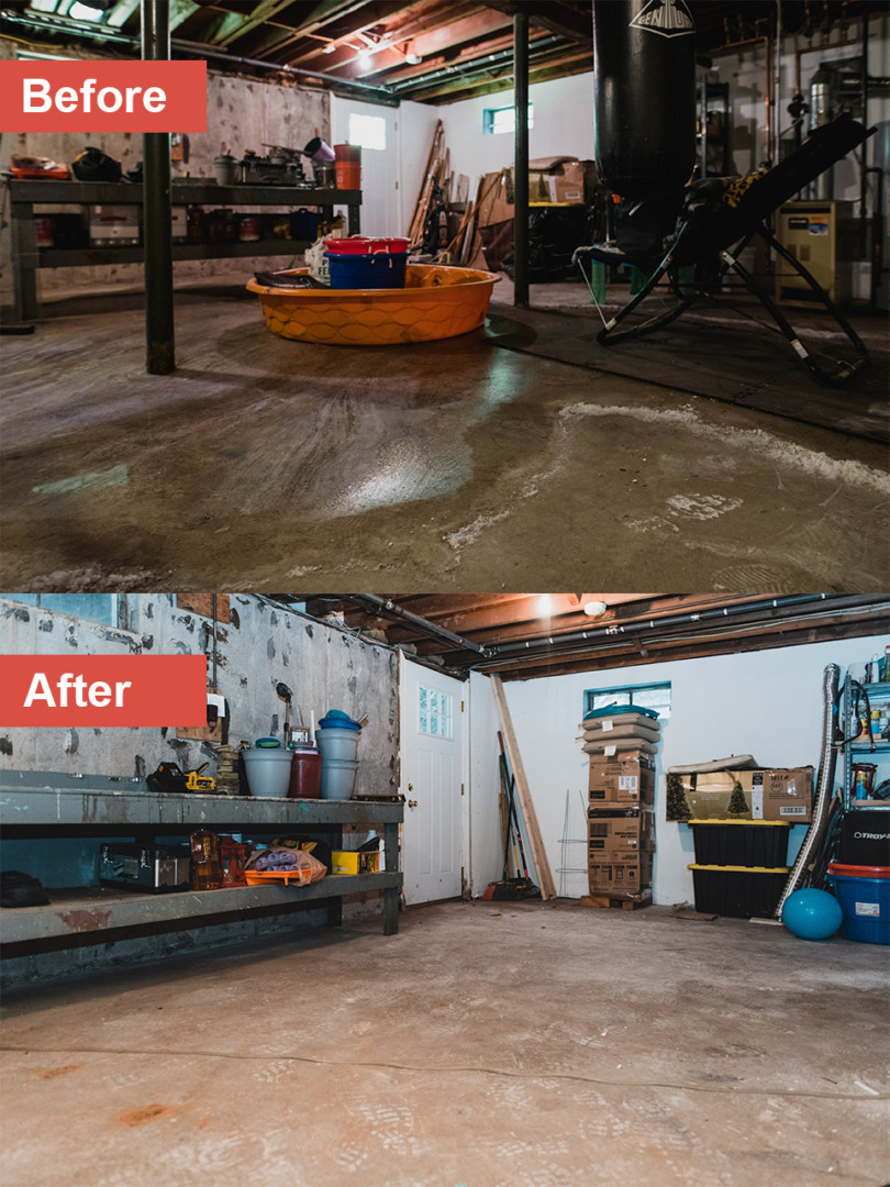 Before-and-after photos of basement