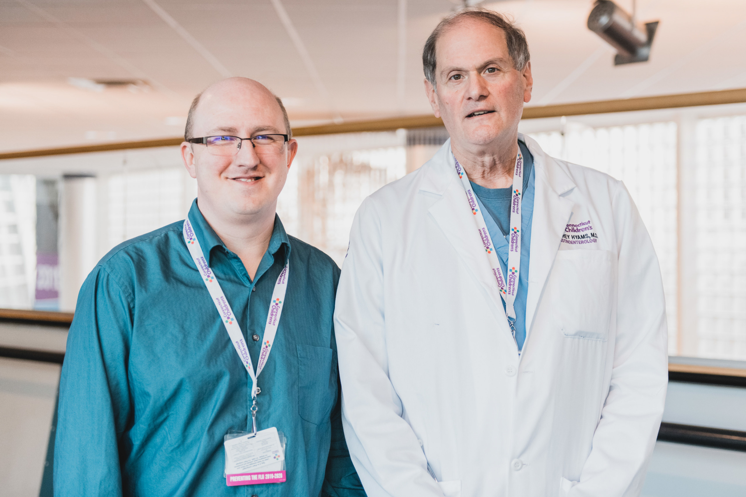 John Hoffman with Dr. Jeffrey Hyams, Division Head of Gastroenterology