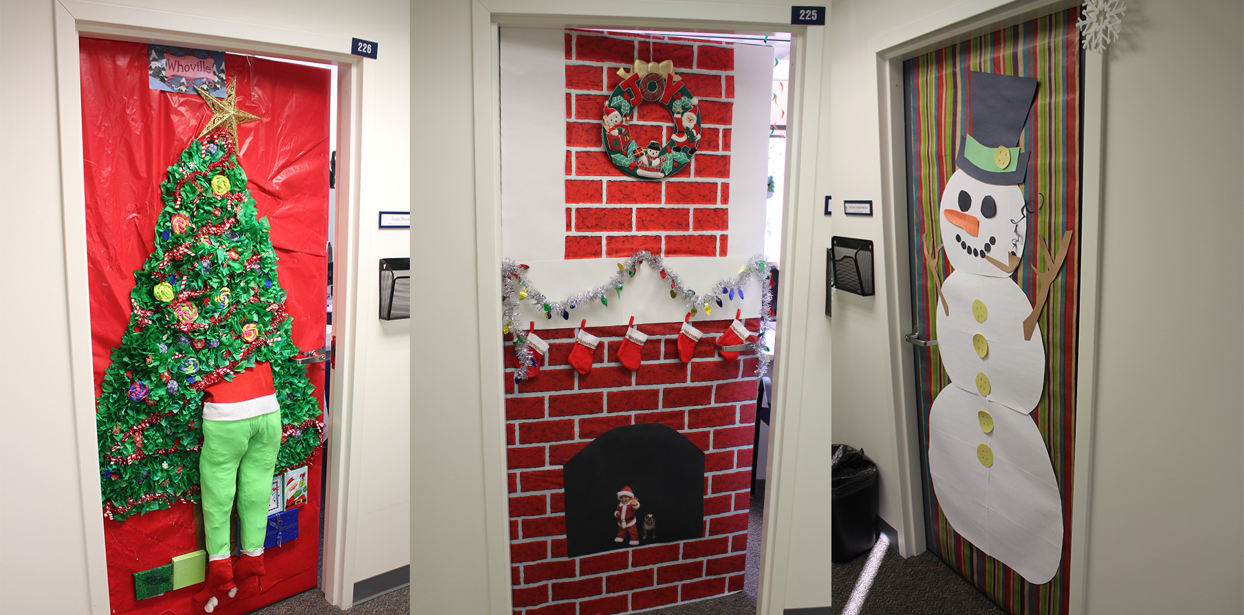 Three doors at Connecticut Children's decorated by team members
