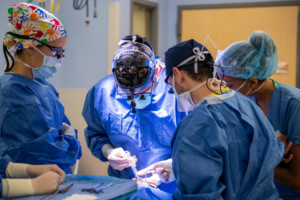 Dr. Hughes operating in the OR