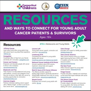Resources and Ways to Connect for Young Adult Cancer Patients and Survivors brochure cover