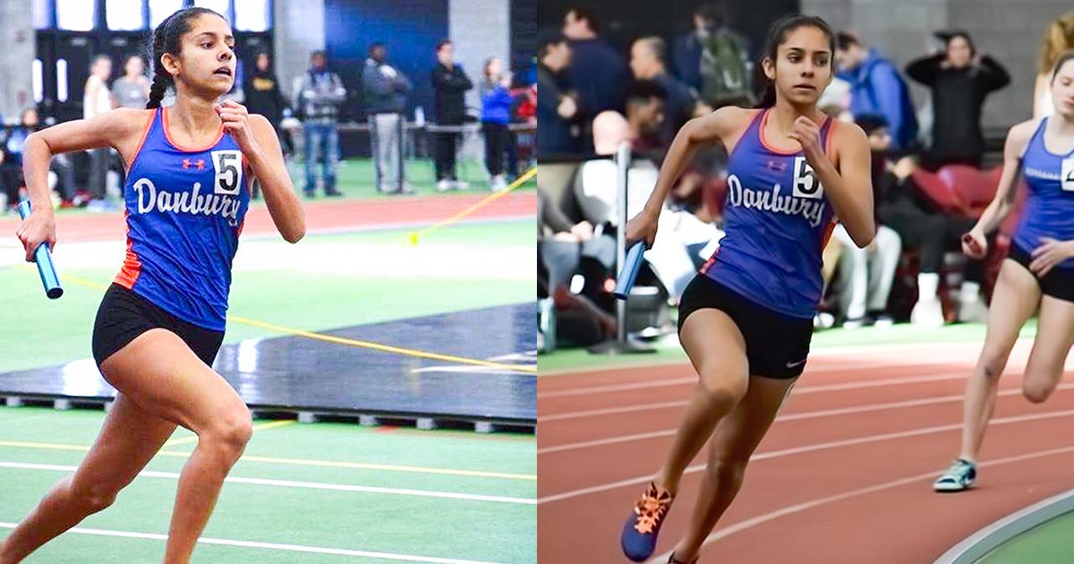 Alexandra runs track while wearing a Danbury High School uniform