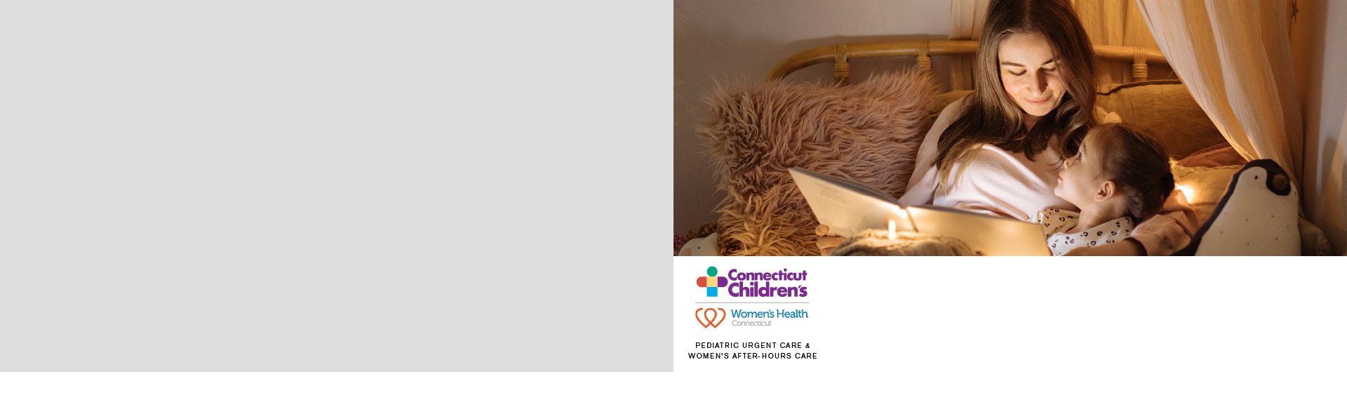 Mother and child reading book in bed with logo for pediatric urgent care and women's health after-hours