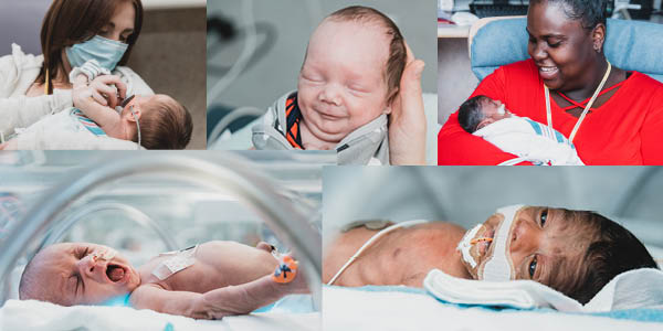 collage of photos from NICU of patients and families